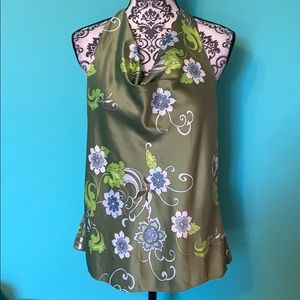 Ann Taylor Halter Floral Side Zip Blouse 12